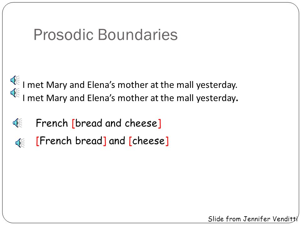 Prosodic Boundaries I met Mary and Elena's mother at the mall yesterday. French [bread and cheese]